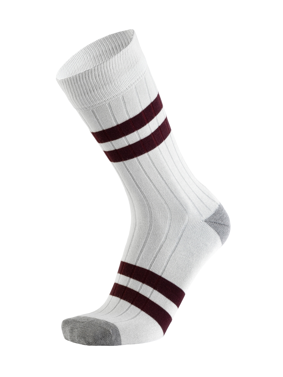 Picture of Double Stripes Canalé White/Burgundy