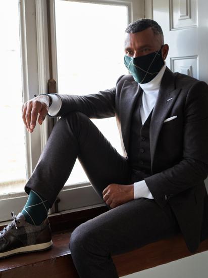 Picture of Mask&Socks Squares Dark Green