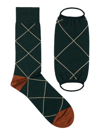 Picture of Mask&Socks Squares Dark Green